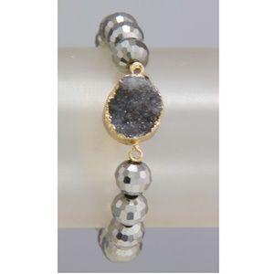 Black Druzy stretch stone bracelet